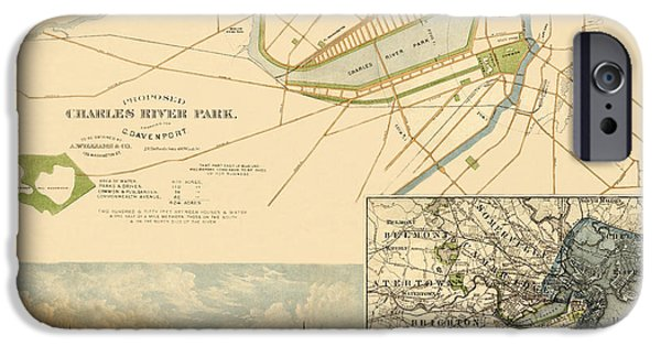 Charles River iPhone Cases - Map of Boston 1880 iPhone Case by Andrew Fare