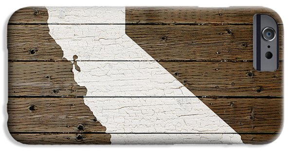 Painted Mixed Media iPhone Cases - Map of California State Outline White Distressed Paint on Reclaimed Wood Planks iPhone Case by Design Turnpike