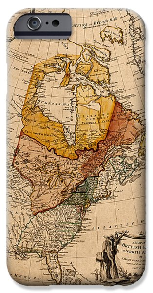 Map Of Canada iPhone Cases - Map of Canada 1776 iPhone Case by Andrew Fare