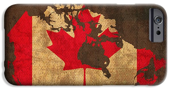 Canada Map iPhone Cases - Map of Canada With Flag Art on Distressed Worn Canvas iPhone Case by Design Turnpike