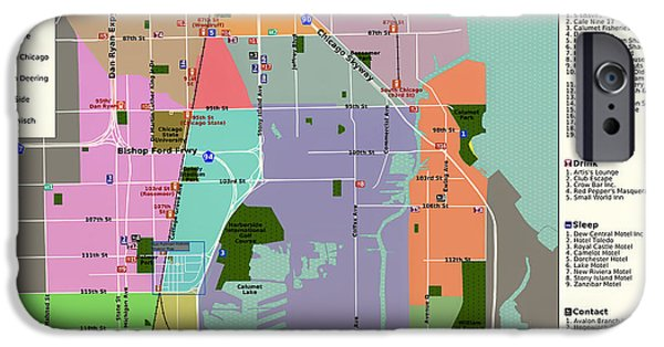 Chicago iPhone Cases - Map of Chicagos Far Southeast Side iPhone Case by Mountain Dreams