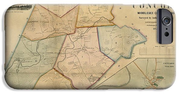 Concord Photographs iPhone Cases - Map of Concord 1852 iPhone Case by Andrew Fare