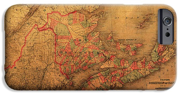 Canada Map iPhone Cases - Map of Eastern Canada Provinces Vintage Atlas on Worn Canvas iPhone Case by Design Turnpike