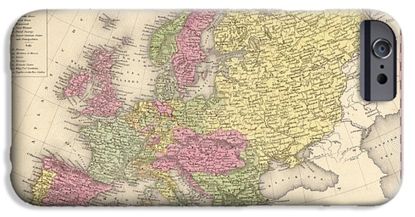 Antique Map Digital Art iPhone Cases - Map of Europe iPhone Case by Gary Grayson