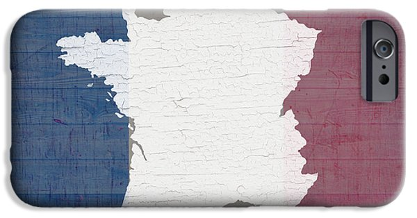 Barns Mixed Media iPhone Cases - Map of France in White Old Paint on French Flag Barn Wood  iPhone Case by Design Turnpike