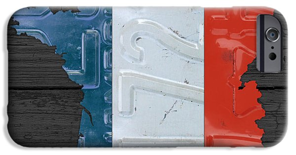 Board Mixed Media iPhone Cases - Map Of France Plus French Flag License Plate Art On Gray Wood Board iPhone Case by Design Turnpike
