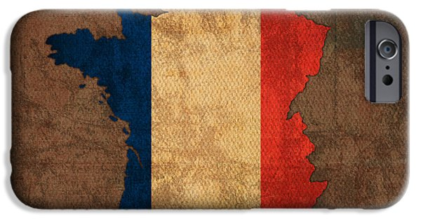 Flag iPhone Cases - Map of France With Flag Art on Distressed Worn Canvas iPhone Case by Design Turnpike