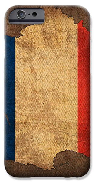 Map of France With Flag Art on Distressed Worn Canvas iPhone Case by Design Turnpike