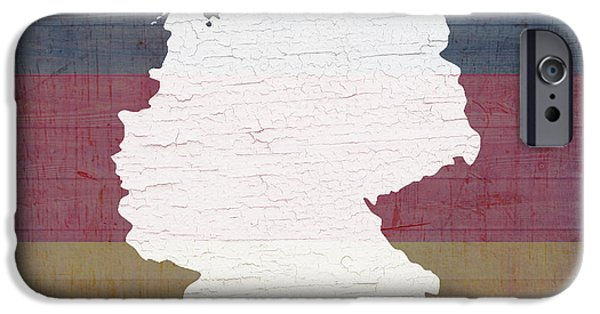 Map Of Germany iPhone Cases - Map of Germany in White Old Paint on German Flag Barn Wood iPhone Case by Design Turnpike