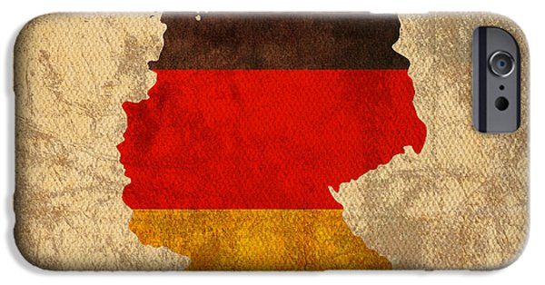 Map Of Germany iPhone Cases - Map of Germany With Flag Art on Distressed Worn Canvas iPhone Case by Design Turnpike