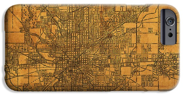 Vintage Bicycle iPhone Cases - Map of Indianapolis Vintage Bicycle and Driving Street Diagram on Weathered Parchment iPhone Case by Design Turnpike