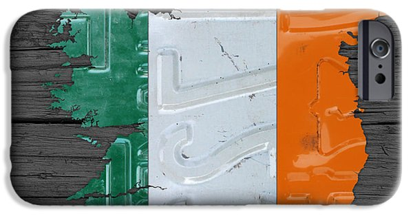 Board Mixed Media iPhone Cases - Map of Ireland Plus Irish Flag License Plate Art on Gray Wood Board iPhone Case by Design Turnpike