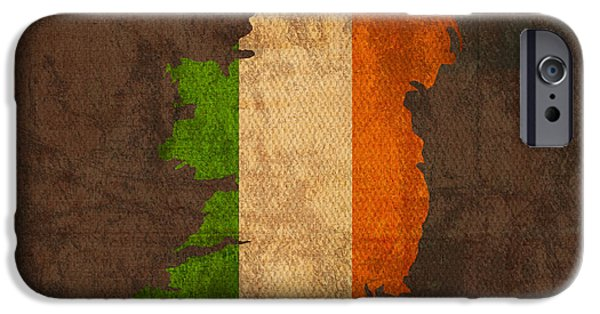 Flag iPhone Cases - Map of Ireland With Flag Art on Distressed Worn Canvas iPhone Case by Design Turnpike
