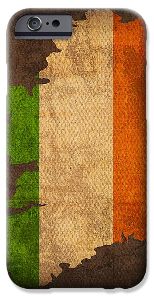 Map of Ireland With Flag Art on Distressed Worn Canvas iPhone Case by Design Turnpike