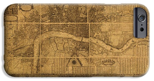 Nineteenth Mixed Media iPhone Cases - Map of London England Old Parchment Circa 1905 iPhone Case by Design Turnpike