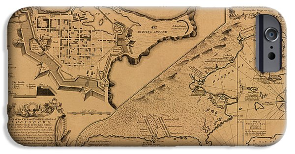 Canadian Map iPhone Cases - Map of Louisbourg 1757 iPhone Case by Andrew Fare
