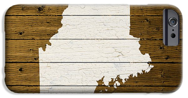 Maine iPhone Cases - Map Of Maine State Outline White Distressed Paint On Reclaimed Wood Planks. iPhone Case by Design Turnpike