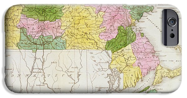 States iPhone Cases - Map Of Massachusetts, From Historical Collections Of Massachusetts, By John Warren Barber, 1839 iPhone Case by American School