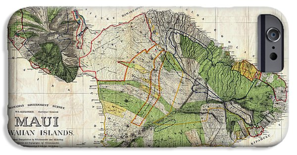 Geographic iPhone Cases - Map of Maui 1885 iPhone Case by Jon Neidert