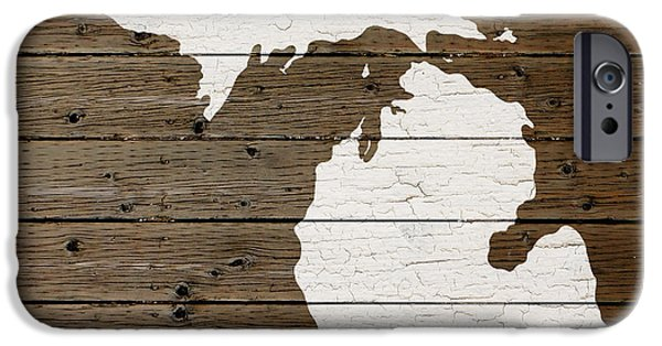 Painted Mixed Media iPhone Cases - Map of Michigan State Outline White Distressed Paint on Reclaimed Wood Planks iPhone Case by Design Turnpike