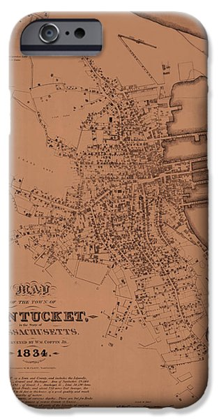 Nantucket iPhone Cases - Map of Nantucket 1834 iPhone Case by Andrew Fare