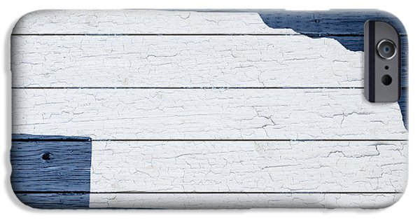 Nebraska iPhone Cases - Map Of Nebraska State Outline White Distressed Paint On Reclaimed Wood Planks iPhone Case by Design Turnpike