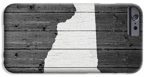 Concord iPhone Cases - Map Of New Hampshire State Outline White Distressed Paint On Reclaimed Wood Planks iPhone Case by Design Turnpike