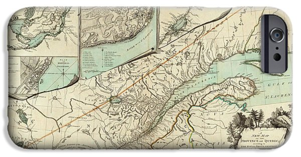 Canada Map iPhone Cases - Map of Quebec 1776 iPhone Case by Andrew Fare