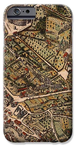 Landmarks Drawings iPhone Cases - Map of Rome iPhone Case by Joan Blaeu