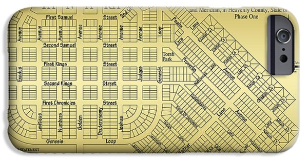 Book Of Daniel iPhone Cases - Map Of Scroll City iPhone Case by James Eddy
