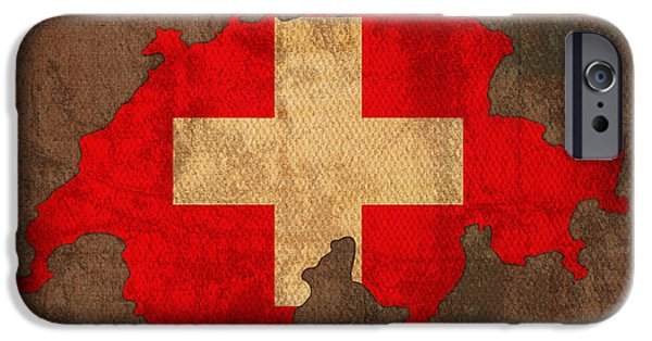 Flag iPhone Cases - Map of Switzerland With Flag Art on Distressed Worn Canvas iPhone Case by Design Turnpike