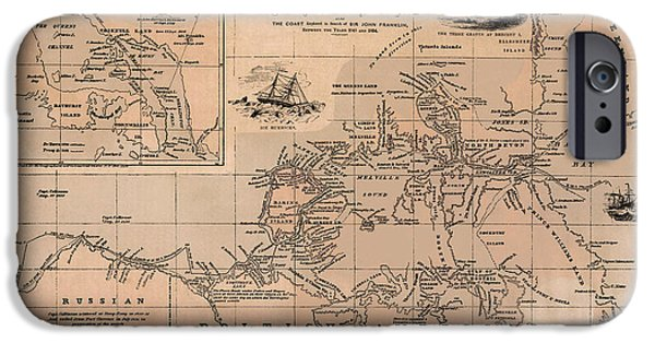 Canada Map iPhone Cases - Map of the Northwest Passage 1856 iPhone Case by Andrew Fare