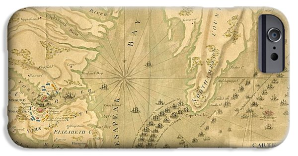 Yorktown Drawings iPhone Cases - Map of the Party of Virginia or the Combined Army of France and the United States of America iPhone Case by Cody Cookston