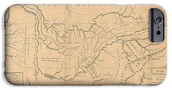 Tennessee Drawings iPhone Cases - Map of the Tennassee government formerly part of North Carolina  iPhone Case by Cody Cookston