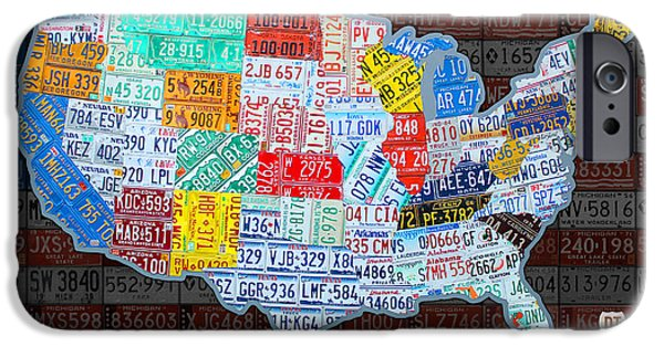 Cars iPhone Cases - Map of the United States in Vintage License Plates on American Flag iPhone Case by Design Turnpike