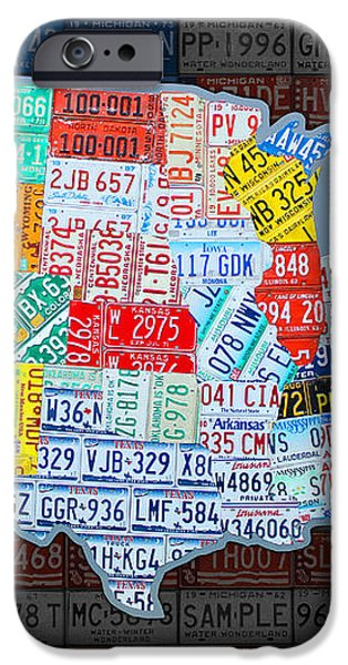 Map of the United States in Vintage License Plates on American Flag iPhone Case by Design Turnpike