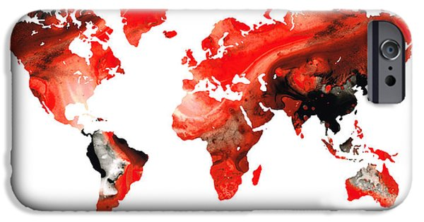 Europe Mixed Media iPhone Cases - Map of The World 10 -Colorful Abstract Art iPhone Case by Sharon Cummings