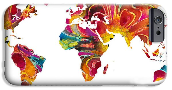 Europe Mixed Media iPhone Cases - Map of The World 2 -Colorful Abstract Art iPhone Case by Sharon Cummings