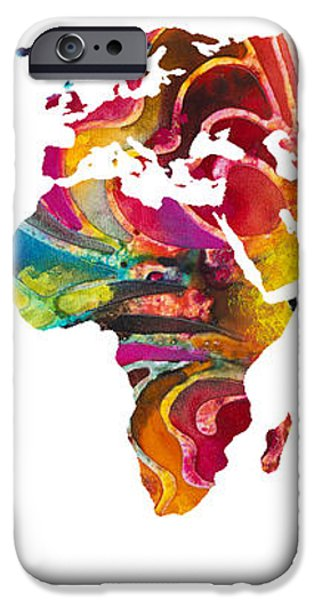 Map of The World 2 -Colorful Abstract Art iPhone Case by Sharon Cummings