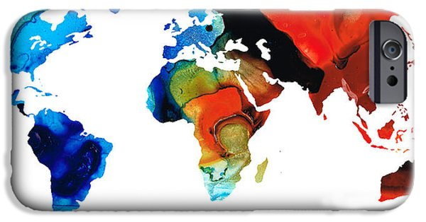 Europe Mixed Media iPhone Cases - Map of The World 3 -Colorful Abstract Art iPhone Case by Sharon Cummings