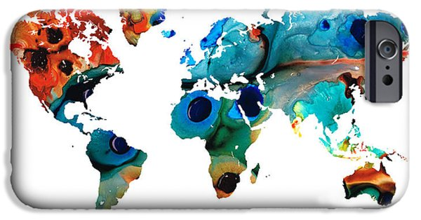 Europe Mixed Media iPhone Cases - Map of The World 6 -Colorful Abstract Art iPhone Case by Sharon Cummings