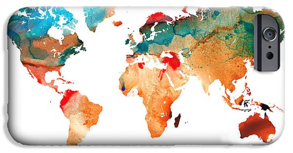 Europe Mixed Media iPhone Cases - Map of The World 7 -Colorful Abstract Art iPhone Case by Sharon Cummings