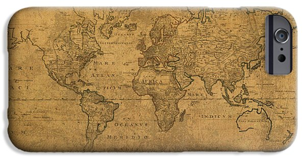 Worn In iPhone Cases - Map of the World in 1784 Latin Text on Worn Stained Vintage Parchment iPhone Case by Design Turnpike