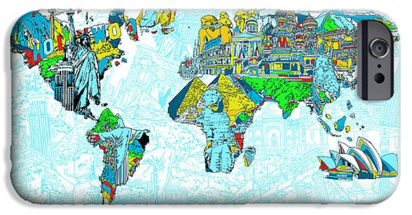 Map Of Canada iPhone Cases - Map Of The World Landmark Collage 2 iPhone Case by MB Art factory
