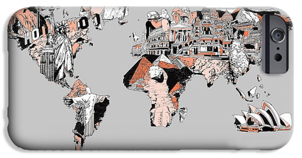 Map Of Canada iPhone Cases - Map Of The World Landmark Collage iPhone Case by MB Art factory