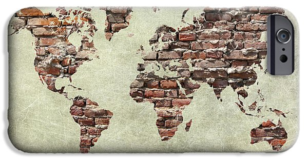 Grungy Pyrography iPhone Cases - Map Of The World Like A Brick Wall iPhone Case by Christo Christov