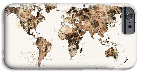 Map Canvas iPhone Cases - Map of the World Map Sepia Watercolor iPhone Case by Michael Tompsett