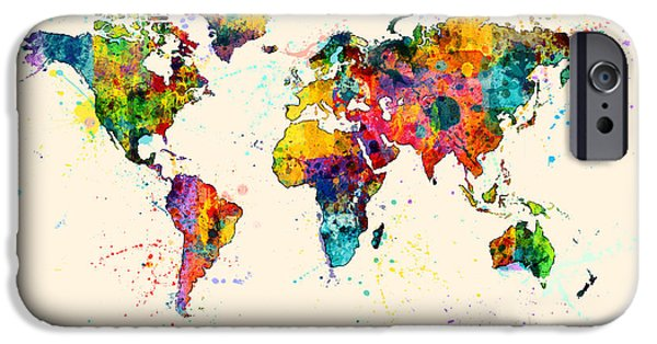 World Digital Art iPhone Cases - Map of the World Map Watercolor iPhone Case by Michael Tompsett