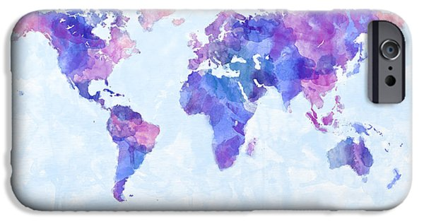 Maps - iPhone Cases - Map of the World Map Watercolor Painting iPhone Case by Michael Tompsett