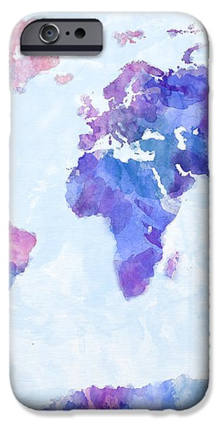 Map of the World Map Watercolor Painting iPhone Case by Michael Tompsett